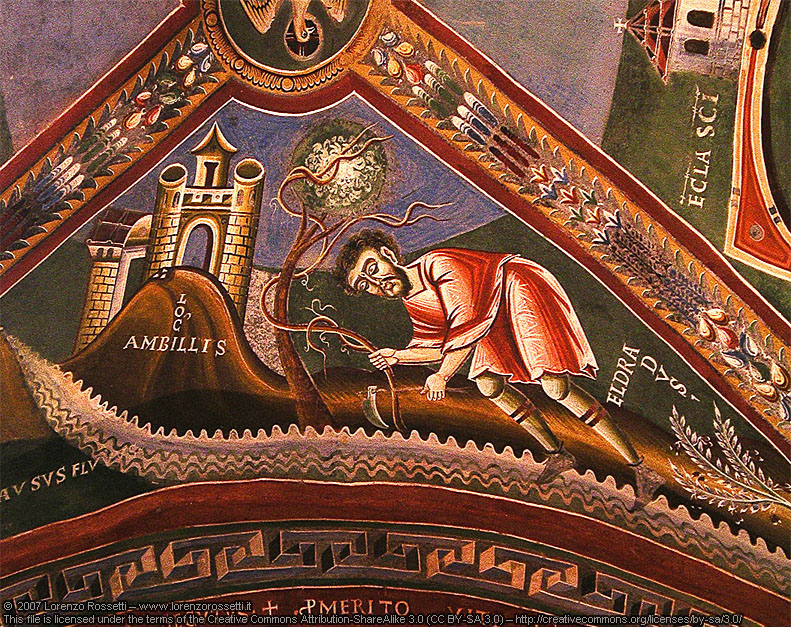 Vita di Sant'Eldrado affrescata nell'omonima cappella nel parco dell'Abbazia di Novalesa nell'XI secolo